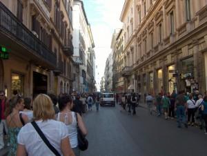 Via del Corso, set mod Piazza del Popolo