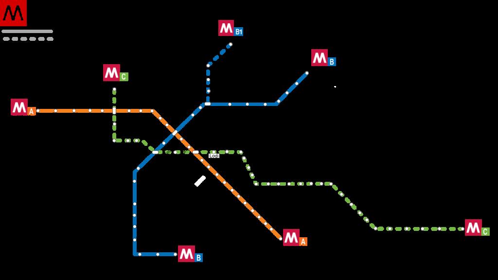 Den grønne linie C med start i Montecompatri/Pantano