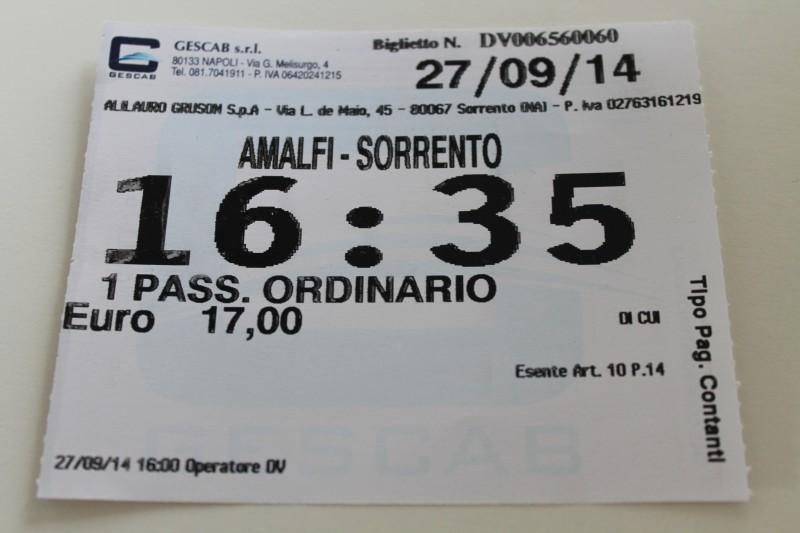 17 Euro for at komme ad søvejen fra Amalfi til Sorrento - alle pengene værd