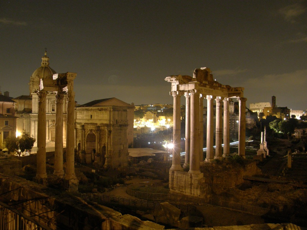 Udsigt over Forum Romanum ved aftentid