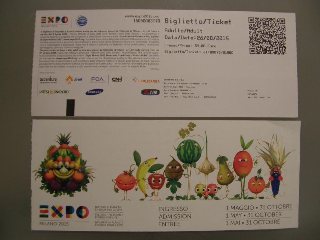Billet til Verdensudstillingen EXPO 2015 i Milano