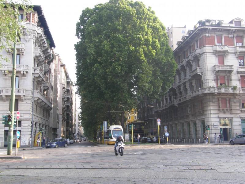 Sporvogn i bydelen Porta Romana i Milano