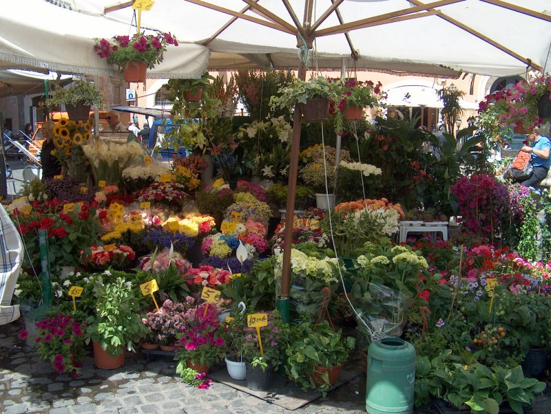 Blomstermarked i Rom