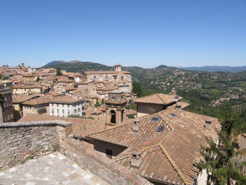 Klassisk billede over hus-tagene og området